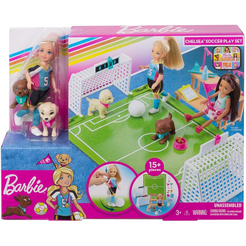 Muñeca Chelsea de 6 pulgadas de Barbie Dreamhouse Adventures, juego de fútbol...