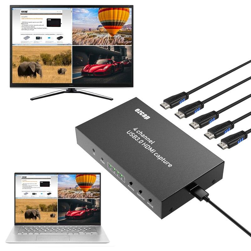Hd 1080 p 60fps 4 canais display multiviewer switch usb 3.0 hdmi placa de captura de vídeo gravação ao vivo streaming caixa hdtv loop-out