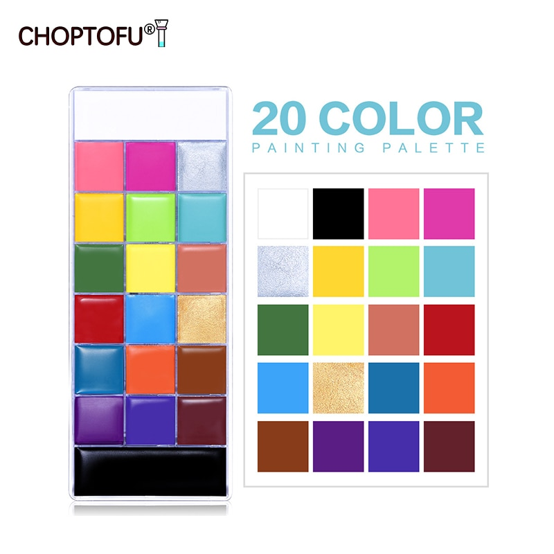 Halloween Party Face Body Painting Palette 20 Colors Makeup Tattoo Painting Art Non-Toxic Oil Kids Fancy Dress Beauty Palette