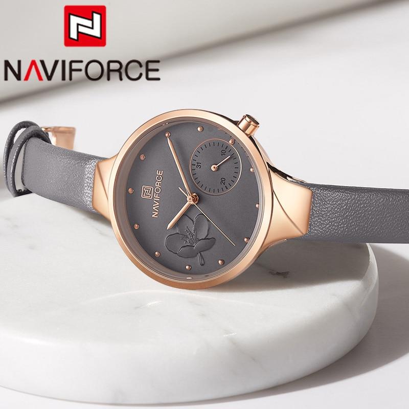 Naviforce moda feminina assista topo da marca de luxo cinza ouro senhoras relógio de pulso pulseira couro genuíno clássico feminino 5001