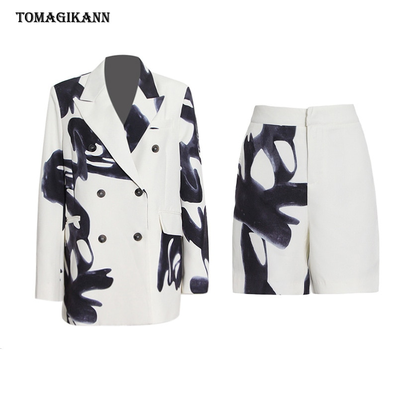 Ink Print Hit Color Two Piece Set For Women Notched Long Sleeve Double Breasted Blazer High Waist Wide Leg Pants Female Suit Set