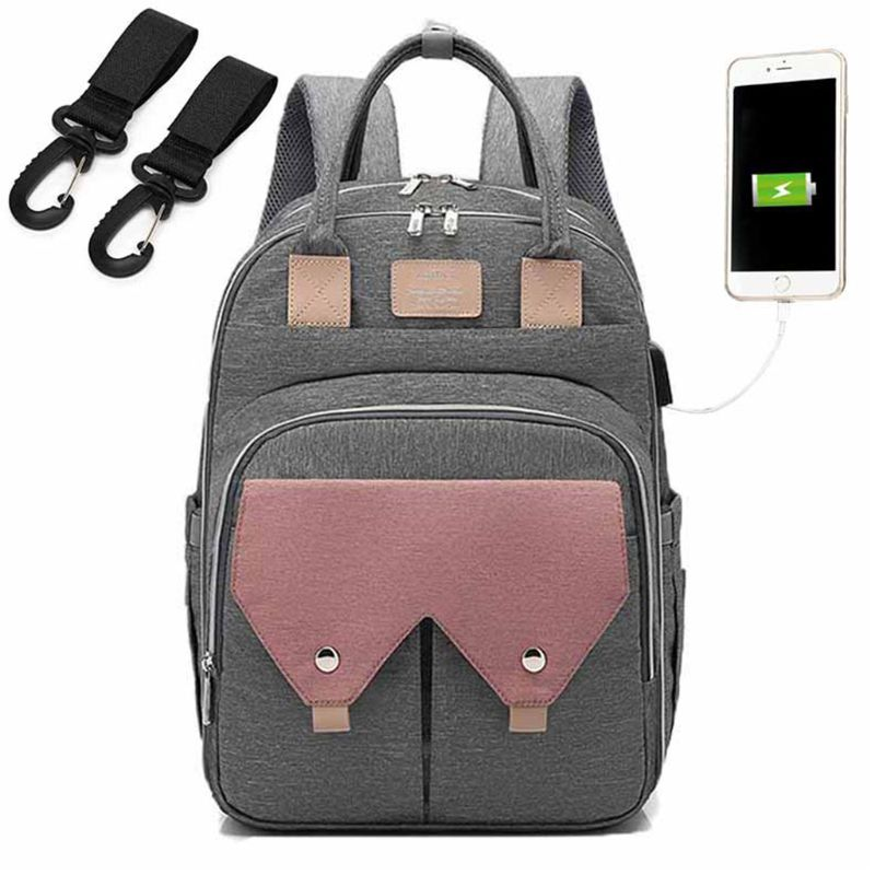 Mummy Mom appy Diaper Bag Large Capacity USB Maternity Baby Travel Backpack with Stroller Kit