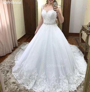Vintage Sequined Wedding Dresses 2021 Vestido de Noiva Princesa Tulle Lace Appliques Wedding Gowns Bead Waist Abiti da Sposa