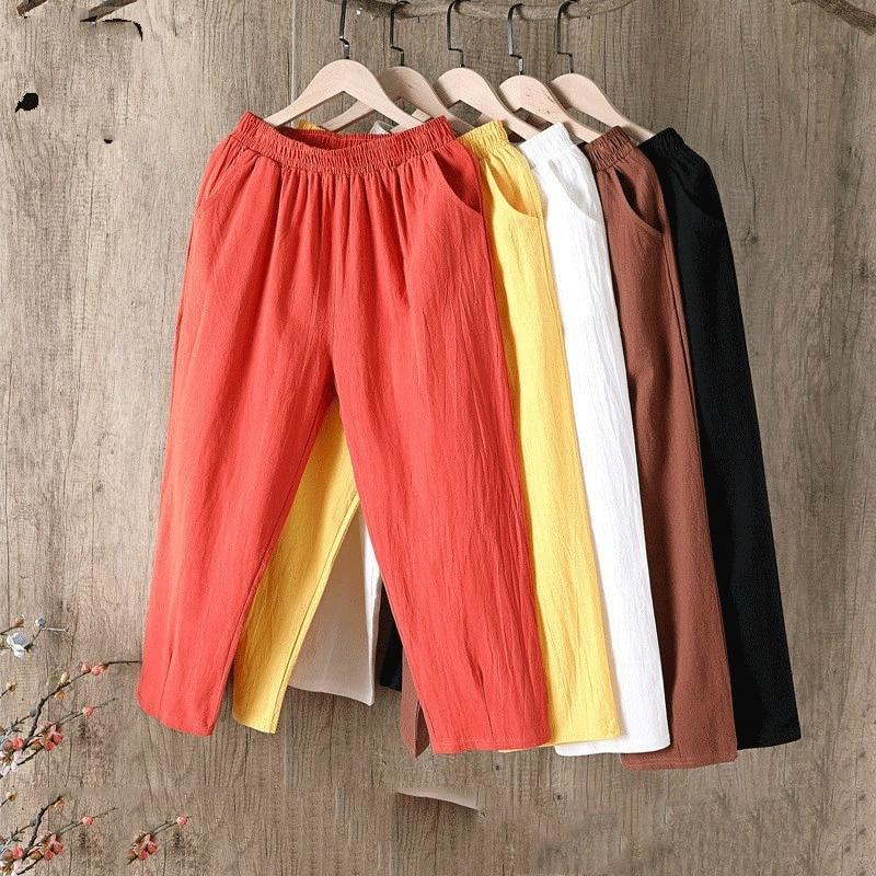 Брюки Женские однотонные из хлопка и льна, Свободные повседневные льняные штаны-султанки с поясом на резинке, большие размеры