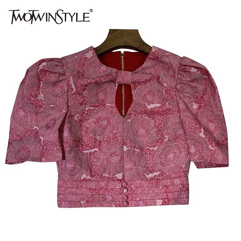 TWOTWINSTYLE خمر طباعة الجوف خارج قميص للنساء س الرقبة قصيرة نفخة الأكمام ضئيلة مثير بلوزة الإناث موضة جديدة الملابس 2021