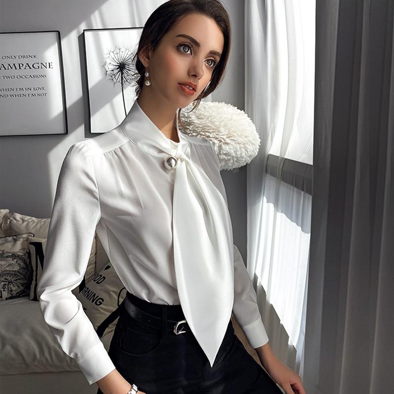 Dabuwawa элегантные белые простые рубашки с галстуком на шее Топ женские повседневные топы с длинными рукавами и блузки офисные женские DT1AST002