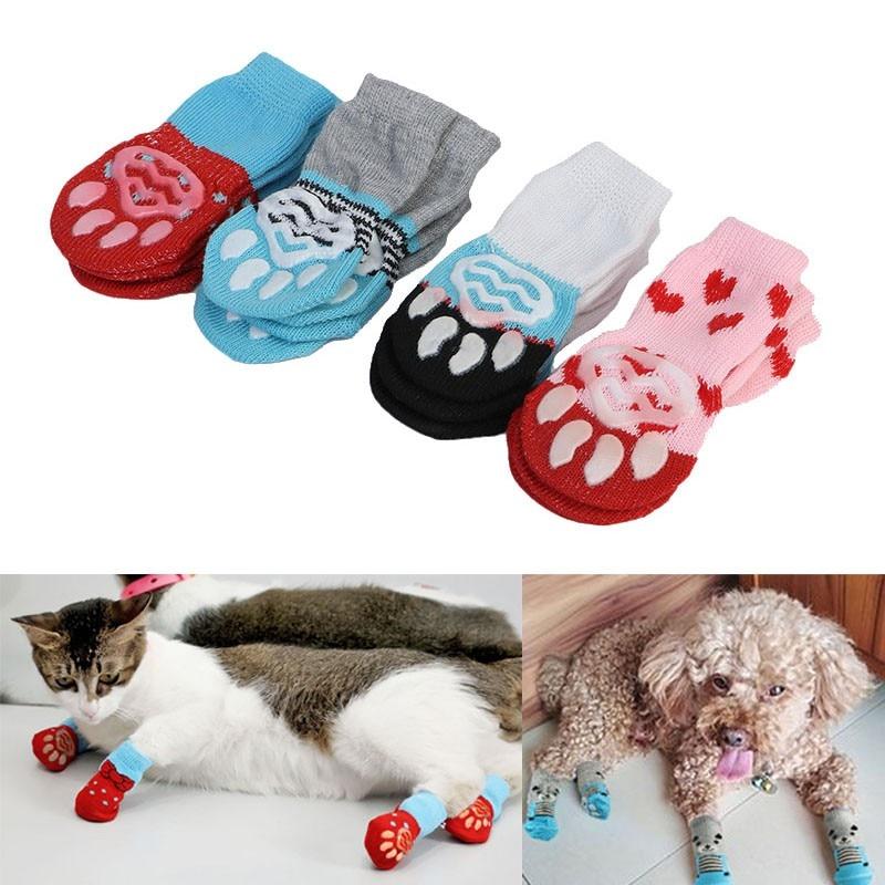 Conjunto de calcetines antideslizantes para mascotas, calcetines cálidos para perros y gatos...