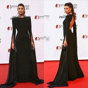 Caftan Abaya Black Prom Dresses Sexy Open Back Long Sleeve Celebrity Formal Evening Dress 2020 O Neck Long Muslim Evening Party