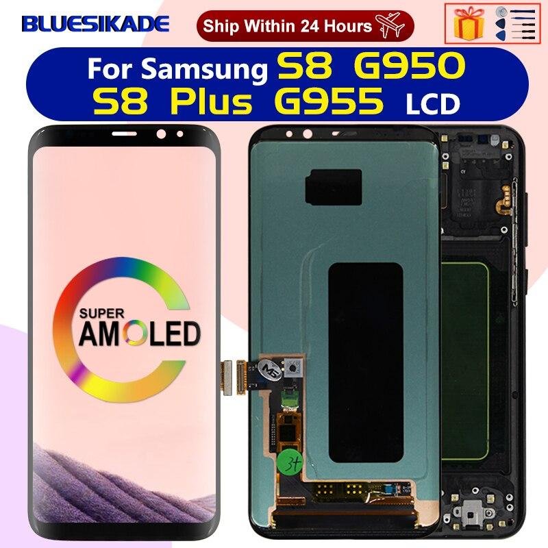 سوبر Amoled لسامسونج غالاكسي S8 LCD عرض تعمل باللمس محول الأرقام لسامسونج S8 زائد S8 + LCD G950F G955F استبدال أجزاء