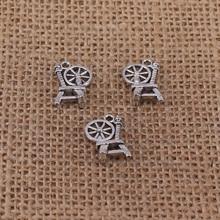 10 stücke Retro Textil Drehmaschine Charms 19x12mm Antike Silber Farbe Anhänger für DIY Schmuck, Die Entdeckungen Handmade handwerk 1997