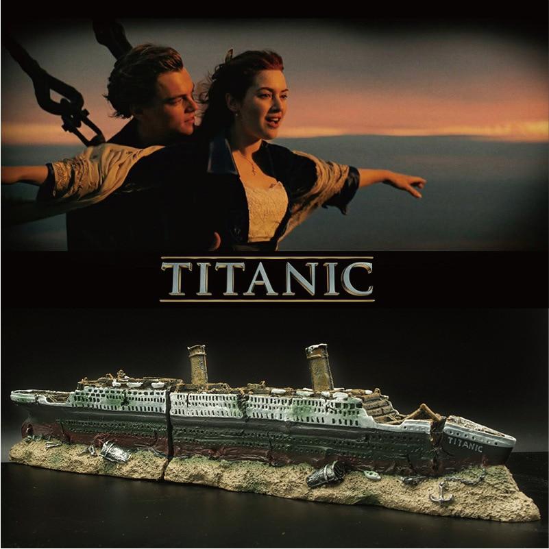 Acuario Titanic Wreck barco decoración Artificial pecera hundida barco crucero ornamento pez cueva escondite decoración piedras de mármol decorativas