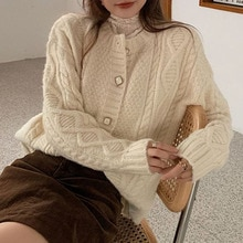 Women Knitted Sweater Cardigan 2021 Ladies Tops Sweet Loose Solid Color Elegant Button Thin Patchwor