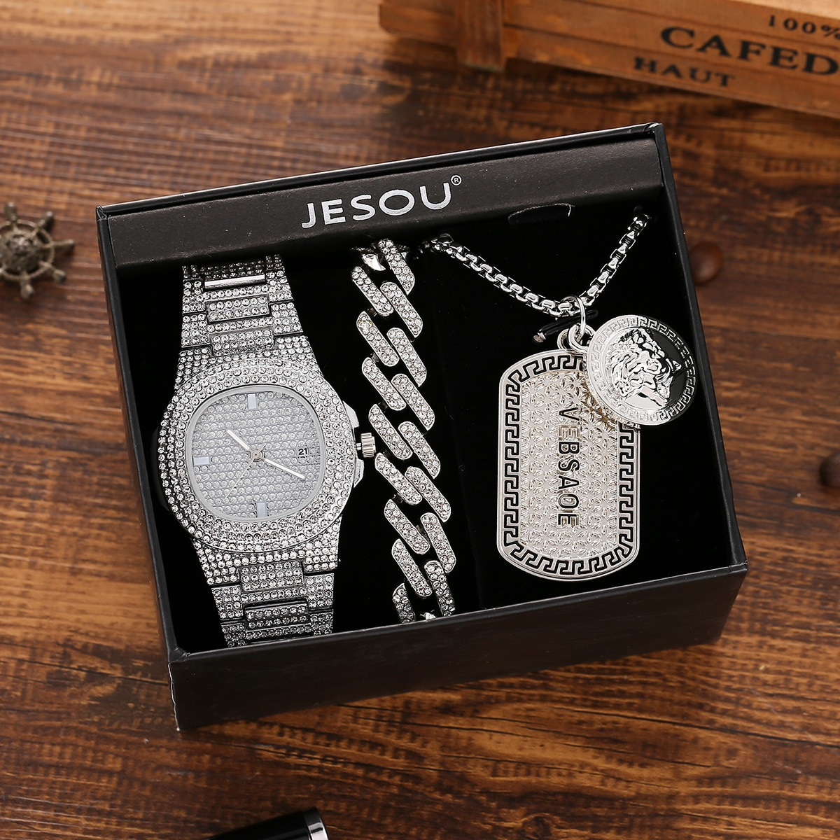 Fashion Luxury Temperament Full Diamond Steel Band Quartz Watch + Necklace Bracelet Set (3pcs / Set)