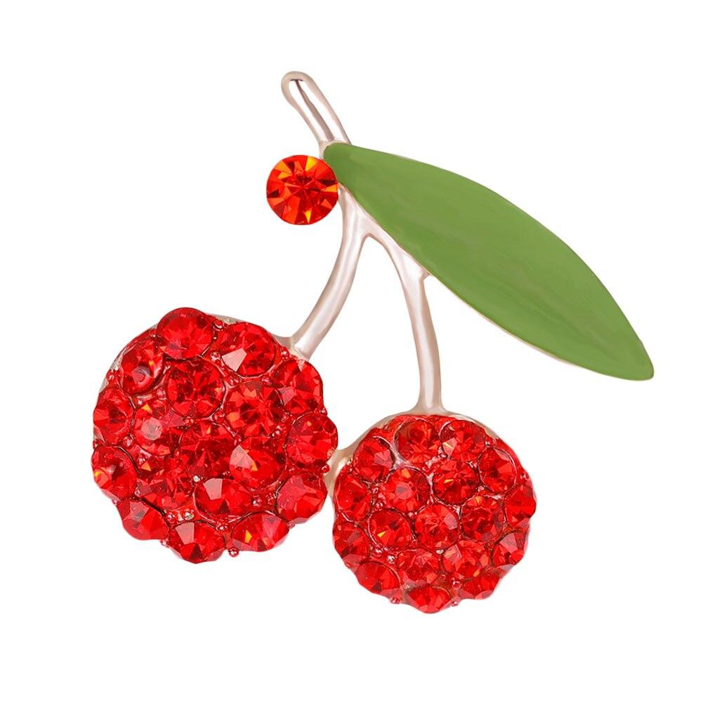 Broches de moda de oro boda hoja verde rojo cereza Collar Hijab Pins Up mujeres vestido bufanda Clips fruta dulce joyería ramilletes