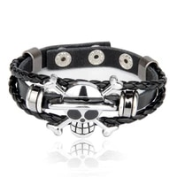 mens multilayer braided leather bracelet jewelry rope chain classic stainless steel skull jewelry 2020