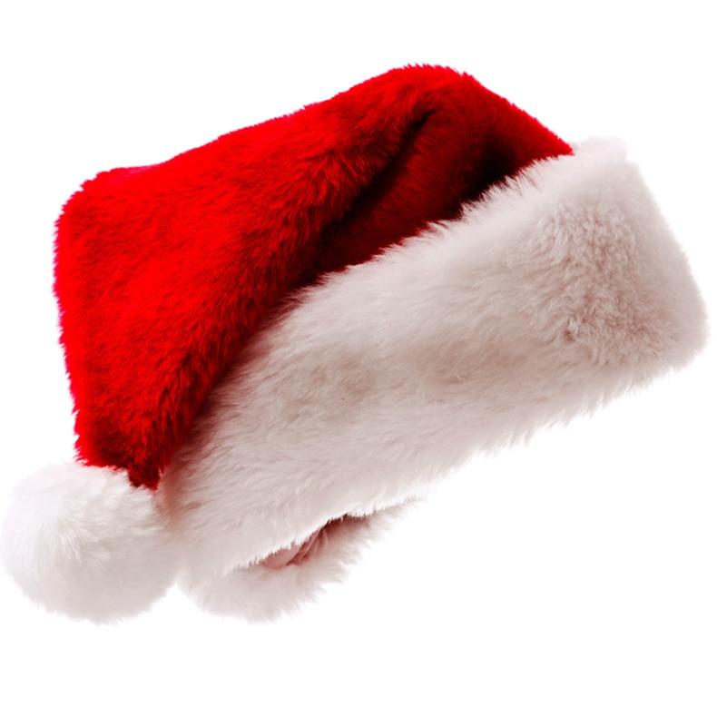 Vestido de Navidad de felpa acolchado de alta gama sombrero de Navidad corto de felpa sombrero de Navidad para adultos decoraciones de Navidad regalos