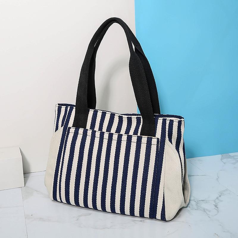 2020 nova cor hit listrado bolsa de lona feminina bolsa de ombro grande capacidade sacola de compras lona feminina