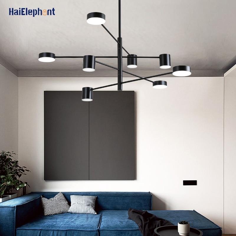 أسود الحديد الطلاء الثريا أضواء لغرفة المعيشة غرفة نوم بريق الحديثة LED مصابيح داخلي الإضاءة الإبداعية الإنارة AC90-260V