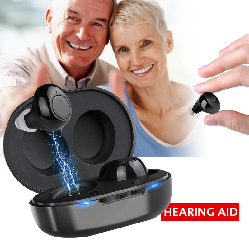 1 par usb recarregável mini no ouvido portátil invisível aparelhos auditivos assistente amplificador de som tom ajustável para idosos surdos