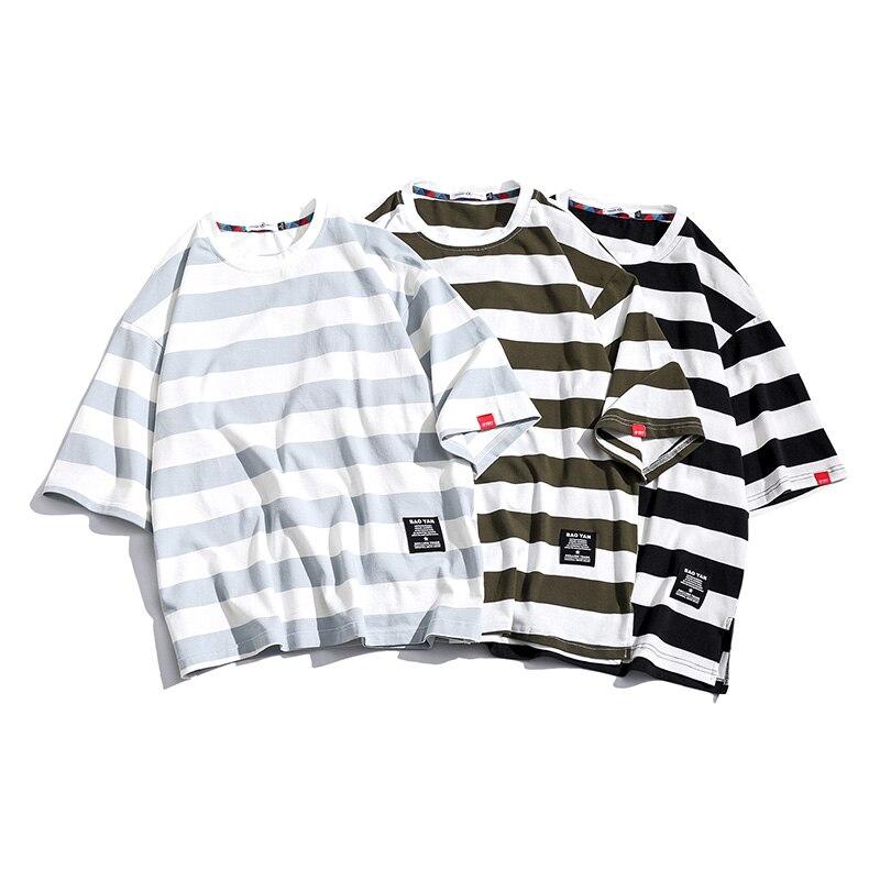 Men Top Casual Stripe Short Sleeve Men's Stripe Short Sleeve Color Contrast Men's Short Sleeves Mannen T-shirt Male Men T Shirts