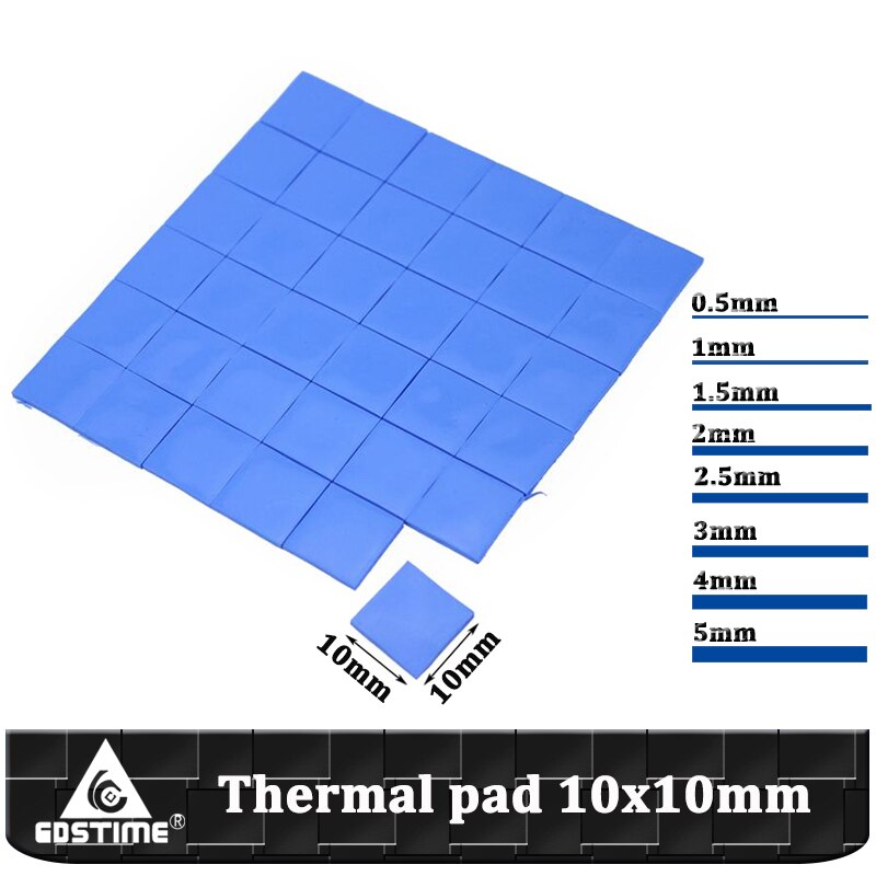 Gdstime Conductive Heatsink Plaster Grease 10x10mm 0.5mm 1mm 1.5mm 2mm 2.5mm 3mm 4mm 5mm Thermal Pad CPU Heatsink Silicone Pad