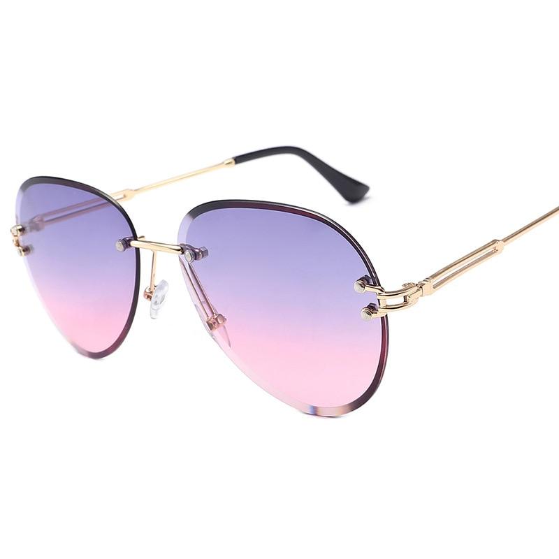 Fashion Blue Rimless Sunglasses Women 2021 UV400 Luxury Aviation Ladies Sunglasses Glasses Shades Zonnebril Dames