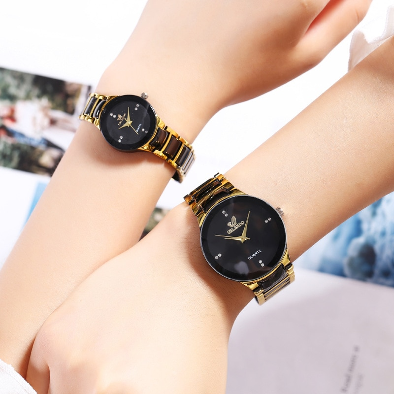 Couple watches Men Luxury Famous Brand Lover's Watch Women Casual Stainless Steel Watches For Women