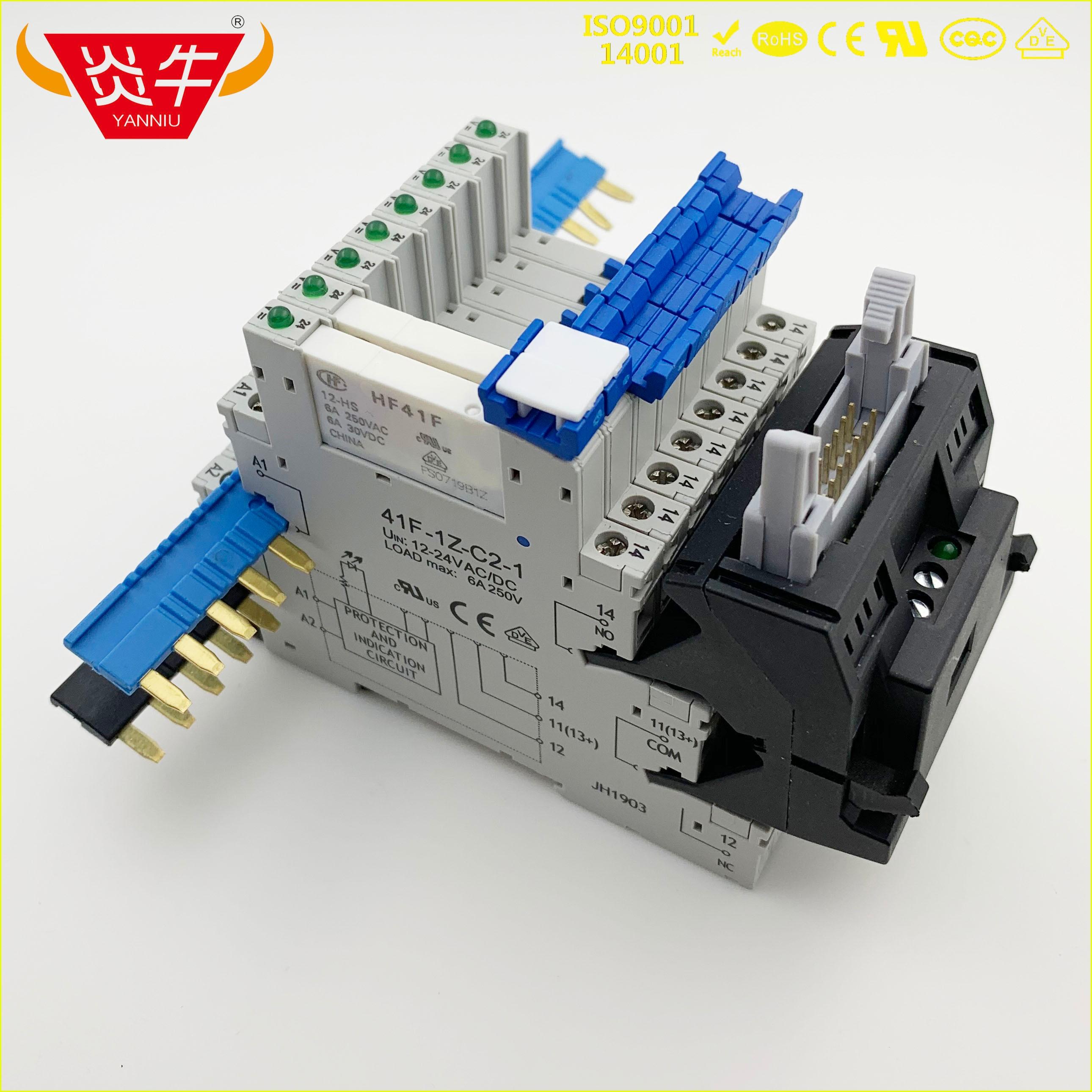 Módulo del relé PLC interfaz 41F 41FF para carril DIN Snap en zócalos de relé