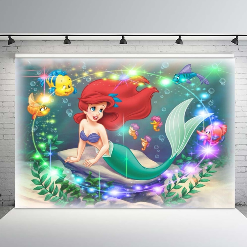 7x5FT Sparkle Spots Ariel Princess Little Ariel Mermaid Rocks silla personalizada foto estudio telón de fondo vinilo 220cm X 150cm