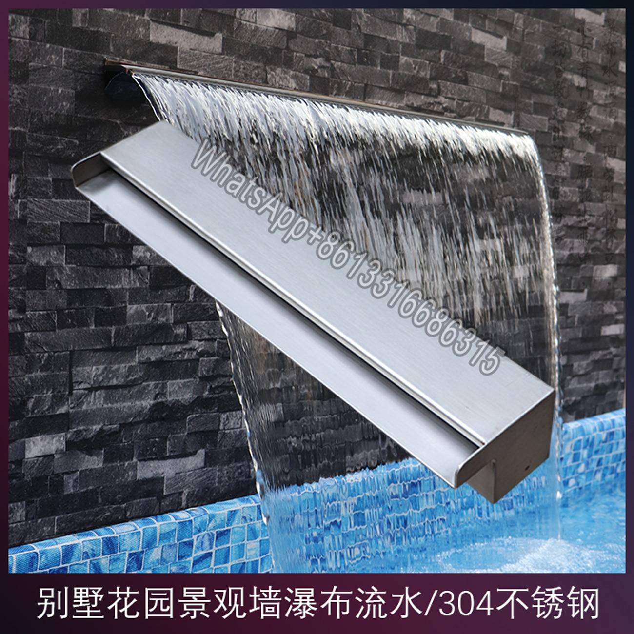 فوهة شلال لحمام السباحة من الفولاذ المقاوم للصدأ ، نافورة حائط ، شلال ، 304