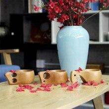 Tazas de madera de haya, hechos a mano nuevos, estilo nórdico, copas de vino de madera para exteriores tradicionales, tazas de café de doble agujero con elefante