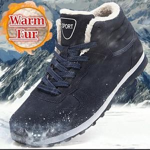 Women and Men Winter Snow Boots Warm Ankle Botas Hombre For Leather Winter Boots Shoes Men Plush Winter Sneakers Plus Size 36-47