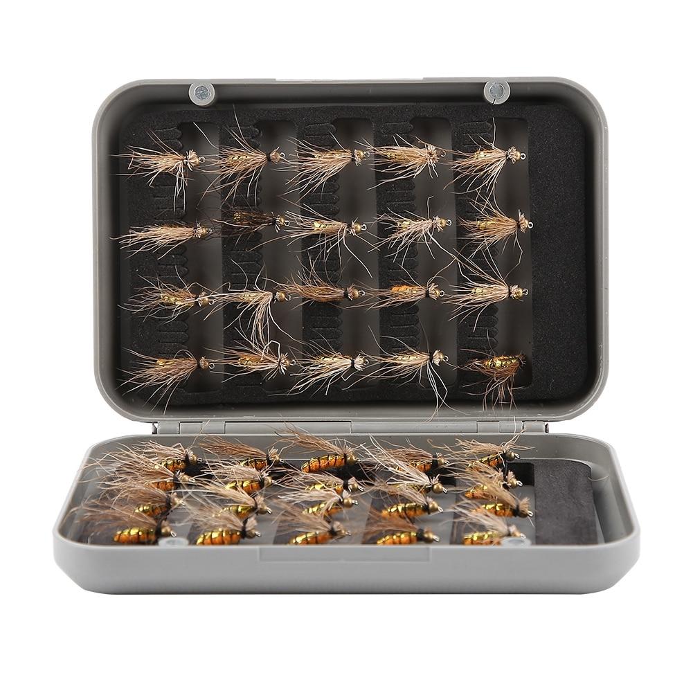 40 unids/caja trucha juego de cebos de Pesca con mosca Mosquito mosca moscas secas Artificial realístico Emerger Kit Rainbow Pesca con mosca Pesca