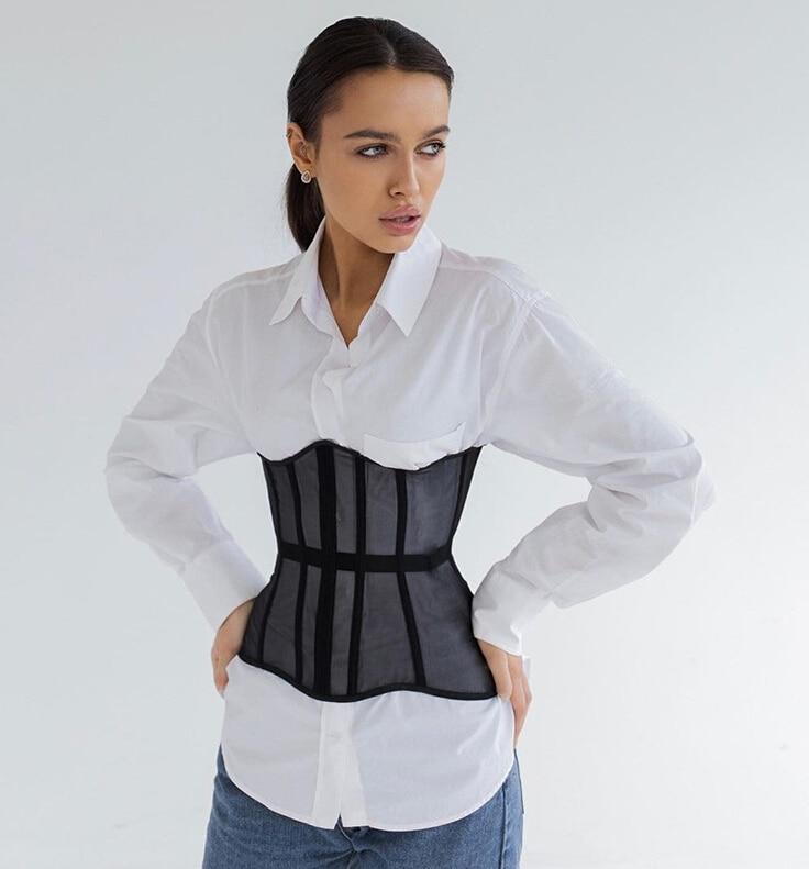 Ceinture Corset en maille pour femmes, taille courte, élastique, moulante, guêpe, mode, taille large, vêtements pour dames, accessoires