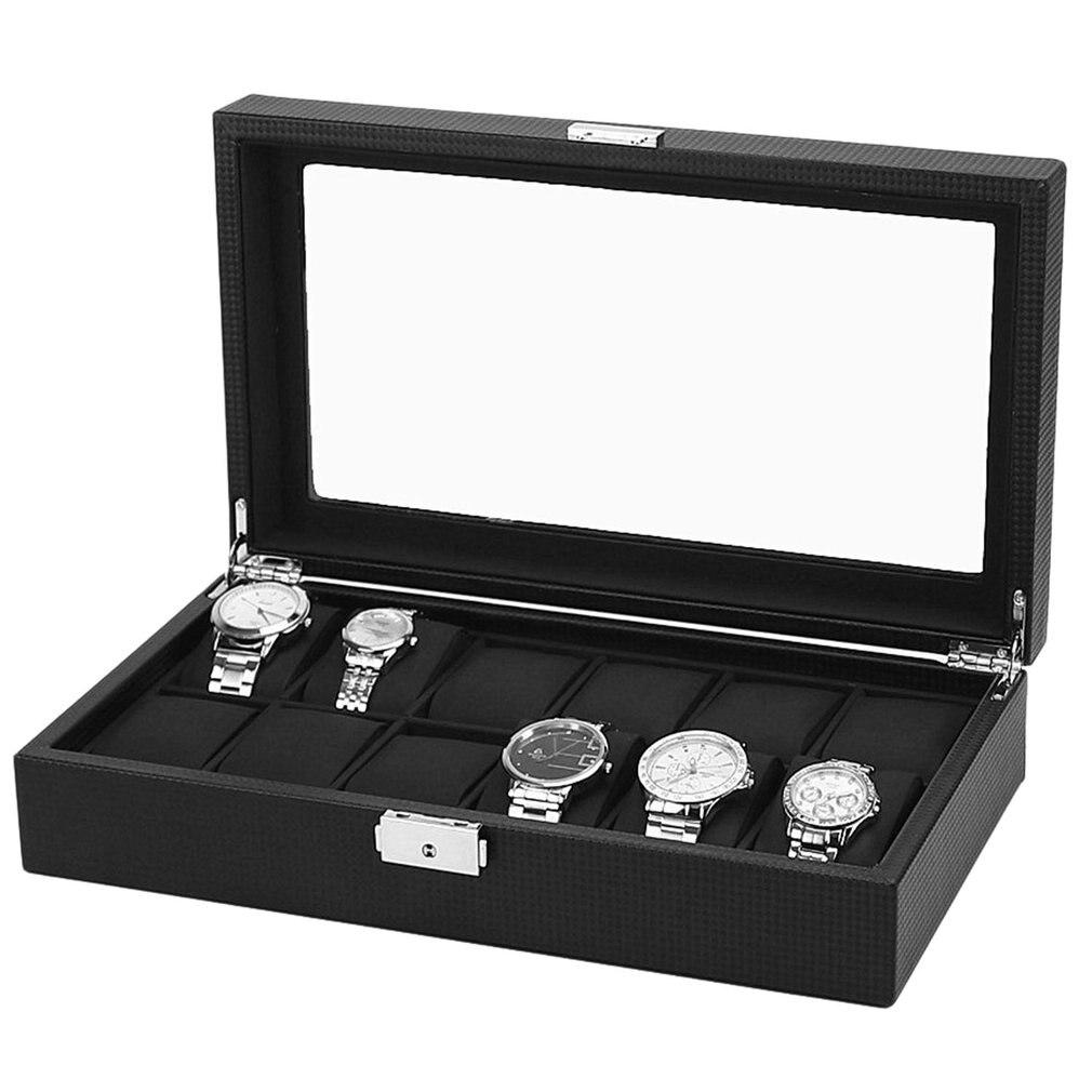 Caja de reloj de lujo de 6/10/12 rejilla con patrón de fibra de carbono, caja de almacenamiento con ranura para exhibición, caja de almacenamiento con soporte 2019 contenedor