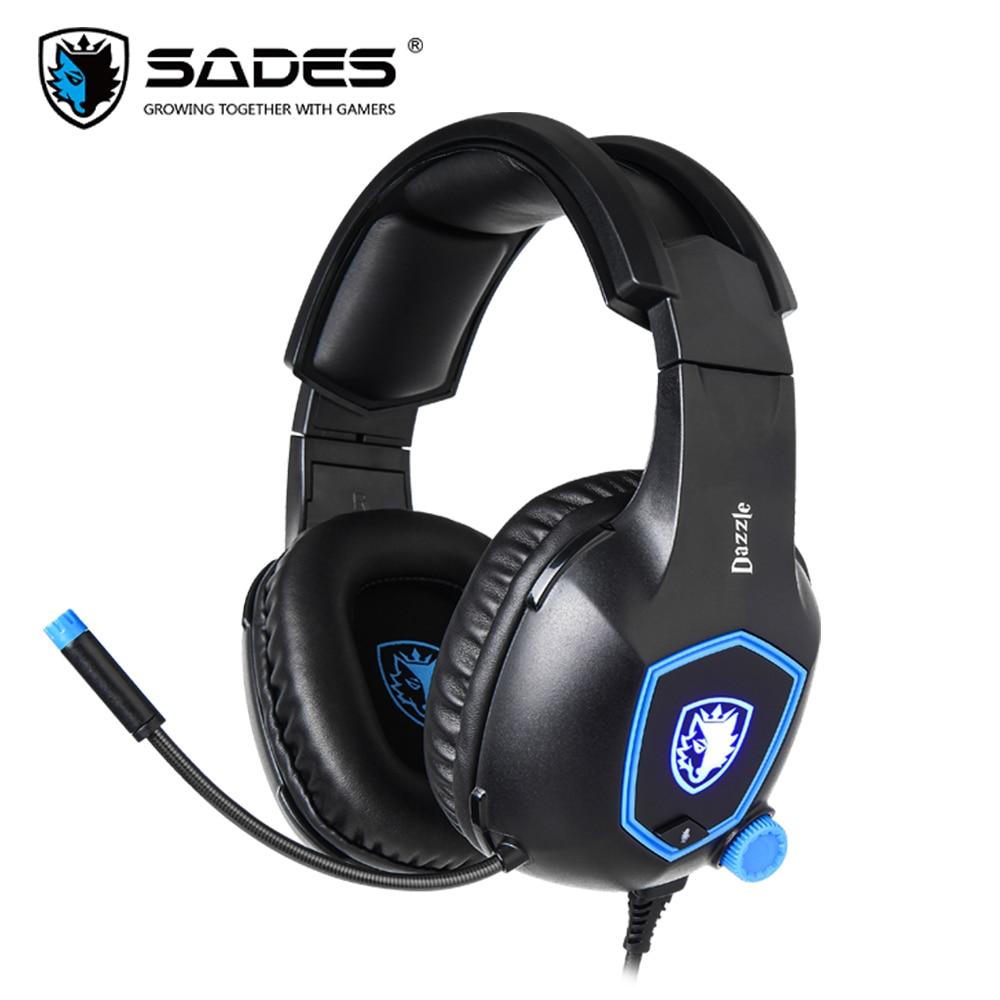 SADES Dazzle Gaming Headset Headphones USB Virtual 7.1 Surround Sound Soft Headband For PC/Laptop/Gamer