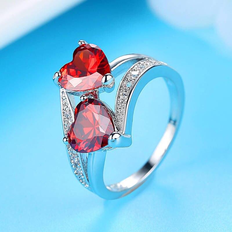 Прозрачное Кольцо из трехцветного циркона красного и синего цвета, подарок на день рождения для девушки, Гламурное двойное обручальное кольцо для пары, Женское кольцо