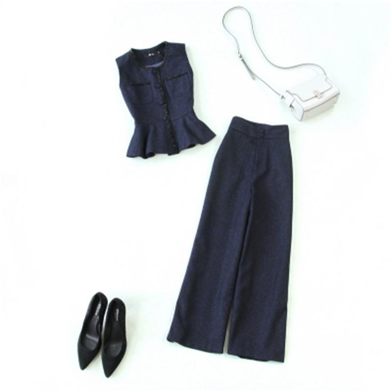 بدلة نسائية من قطعتين ، جاكيت كاروهات نسائي ، بنطلون واسع الأرجل ، ملابس ترفيهية ، جودة عالية ، موضة ربيعية