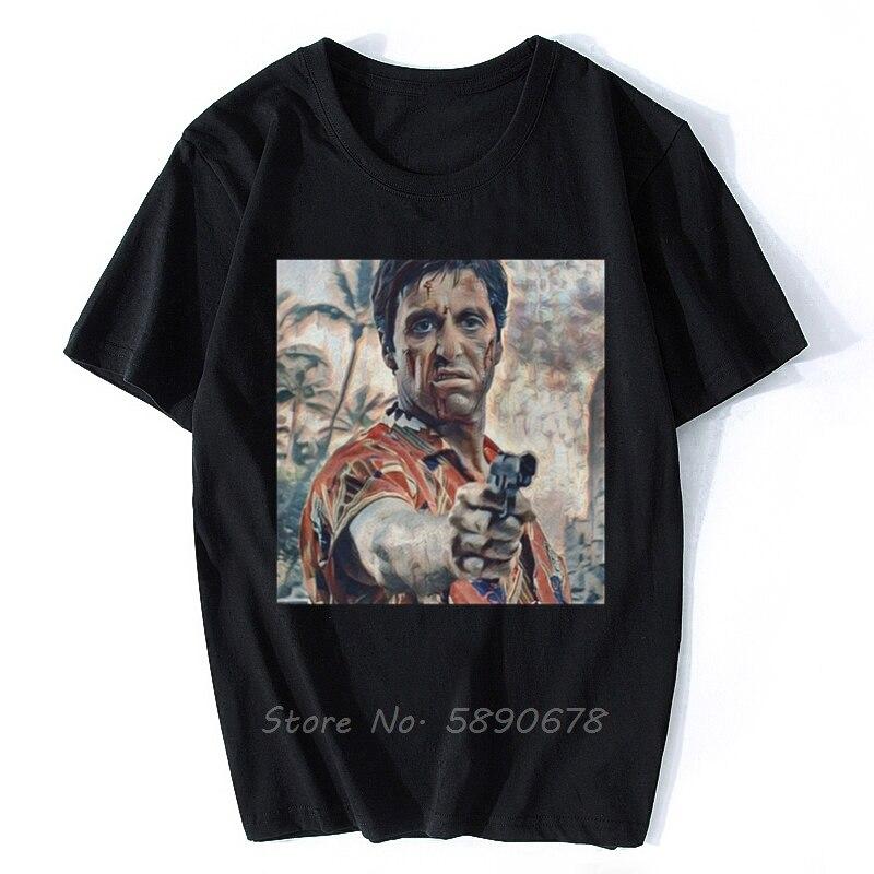 Männer der Scarface T Hemd Tony Montana Pacino Gangster Film Baumwolle Kleidung Vintage Kurzarm Harajuku Tees Plus Größe T-Shirt