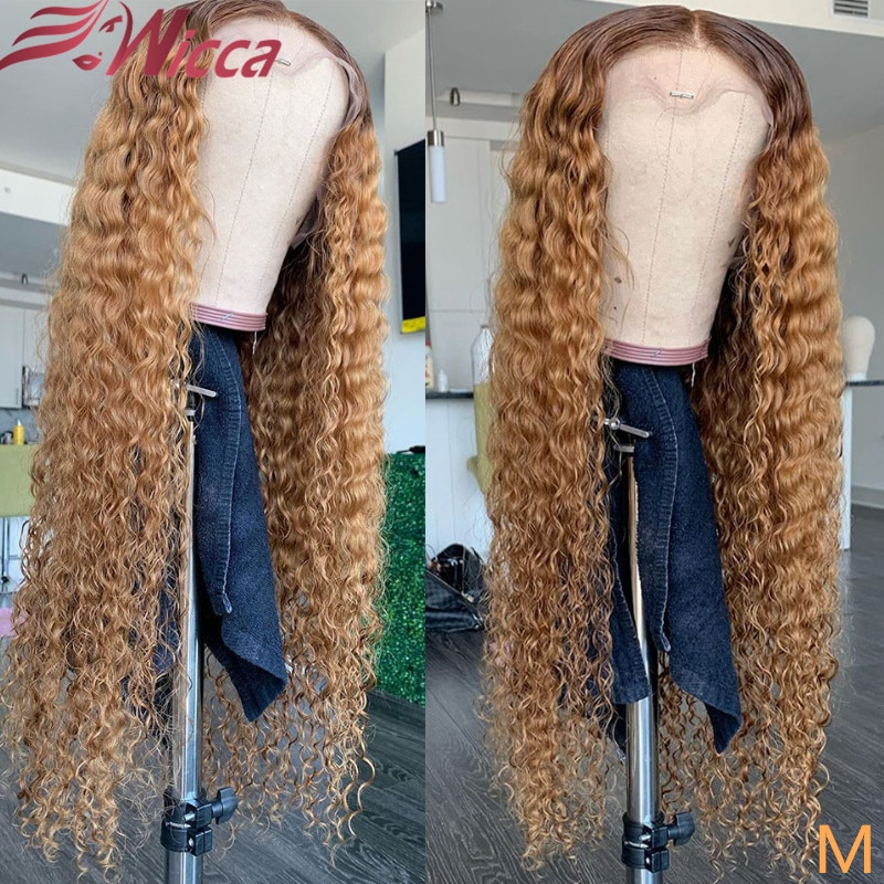 Colored Blonde Curly 13X4 Lace Front Human Hair Wigs Pre Plucked 180% Brazilian Lace Frontal Wigs Re