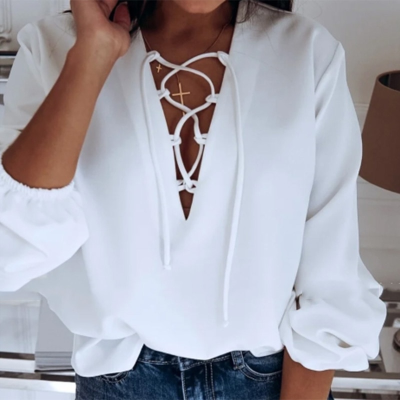 Sexy V Neck Drawstring Blouse Women Solid Loose Lantern Sleeve Office Ladies Shirt Vintage Spring Autumn Elegant Blouses And Top