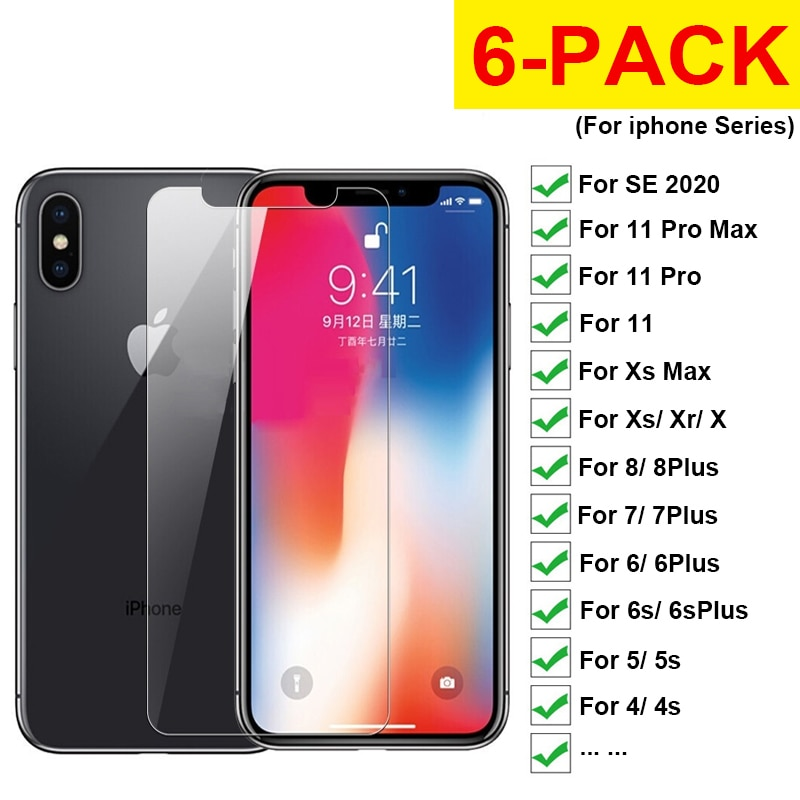6pcs Tempered Glass Screen Protector for Iphone X Xs 11 Pro Max Xr 6 7 8 Plus SE 2020 Protective Fro