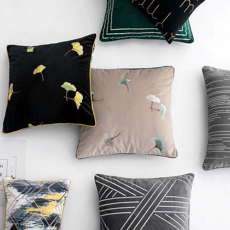 Nova folha de luxo bordado geométrica veludo capa almofada fronha casa decorativa sofá lance travesseiros sala estar