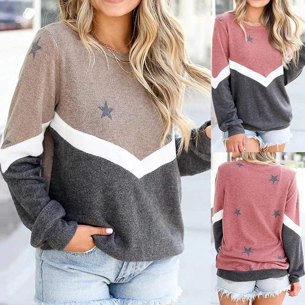 Women's Stripe Stitching Sweatshirts Winter Clothes Casual Five-pointed Star Print Sweatshirt Loose