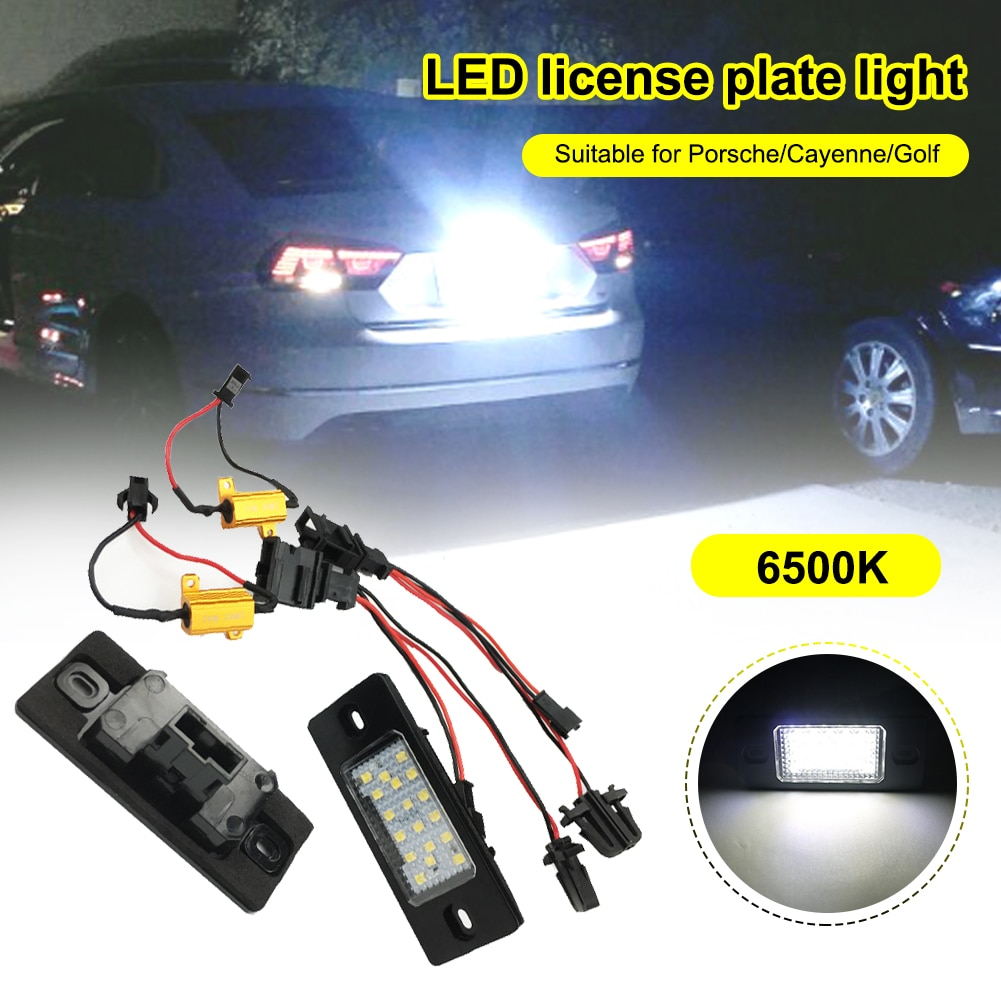 Car Led License Plate Light Lamp 6W Rear Tag Light 6500K 240ML White Light for Porsche and Volkswagen Tiguan Cayenne Golf