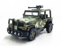 124 military jeep with machine gun vehicle alloy car model pull back sound and light boxed childrens toy