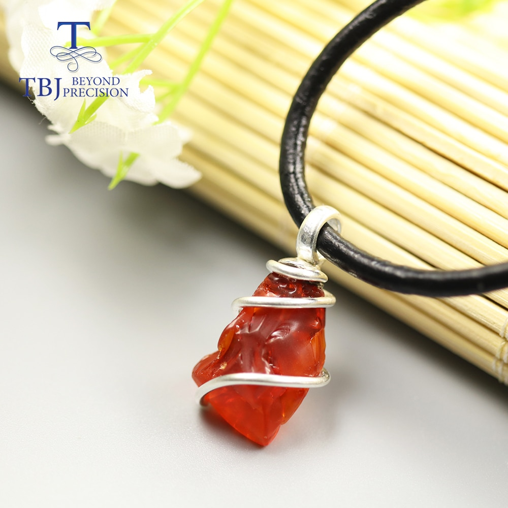 4ct Natural ópalo de fuego duro México de piedras preciosas colgante de collar hecho a mano de plata esterlina pura 925 joyería fina tbj