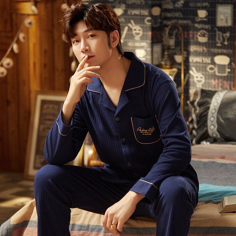 Хлопок пижама для мужчин 2 предмета гостиная одежда для сна пижамы мягкий уютный осень постельное белье дом одежда мужчины пижамы чистый хлопок пижамы комплект
