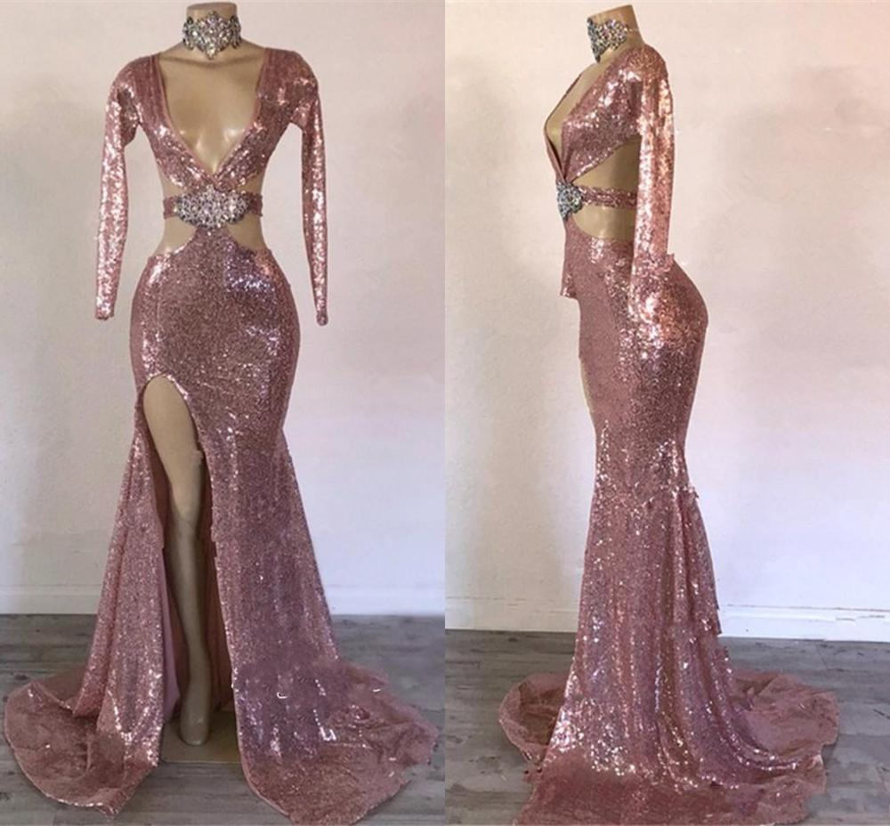 Sexy Sequined Mermaid Prom Dresses Cutaway Sides Side Split Long Sleeves Evening Dress Sweep Train Formal