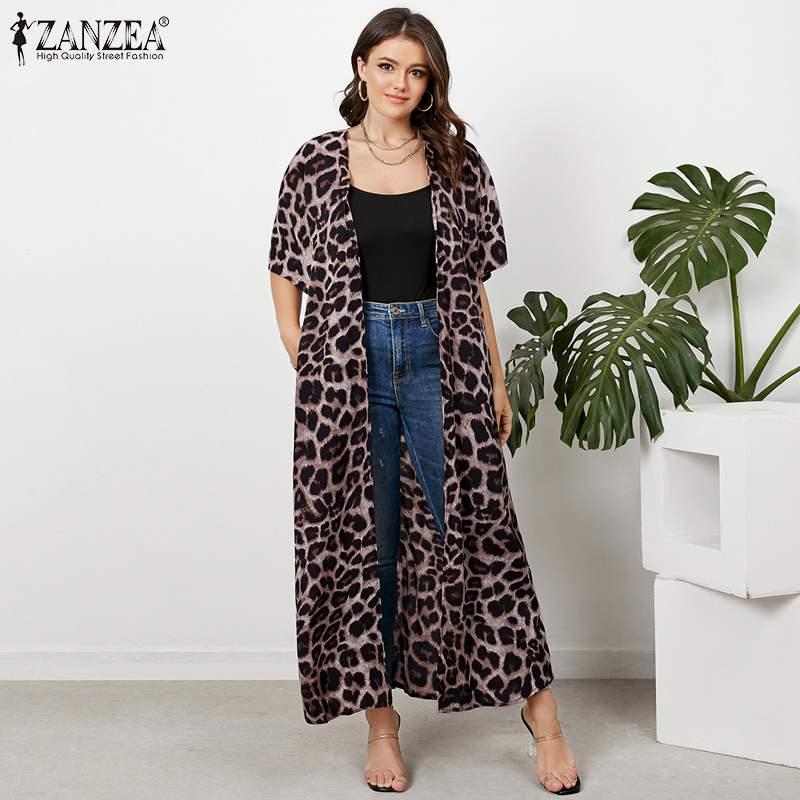 ZANZEA Women Stylish Blouse 2021 Summer Leopard Print Tops Casual Half Sleeve Loose Tunic Lady Holiday Cardigan Femme Plus Size